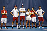 24 MAY 2016:  The Oklahoma team watches as double play slips away from them. The Division I Men's Tennis Championship is held at the Michael D. Case Tennis Center on the University of Tulsa campus in Tulsa, OK.  Virginia defeated Oklahoma for the national championship. Shane Bevel/NCAA Photos