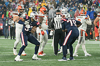 FOXBOROUGH, MA - OCTOBER 27: New England Patriots Defensive lineman Deatrich Wise Jr. #91 and New England Patriots Defensive lineman Adam Butler #70 celebrate a sack as Cleveland Browns Quarterback Baker Mayfield #6 walks off the field during a game between Cleveland Browns and New Enlgand Patriots at Gillettes on October 27, 2019 in Foxborough, Massachusetts.