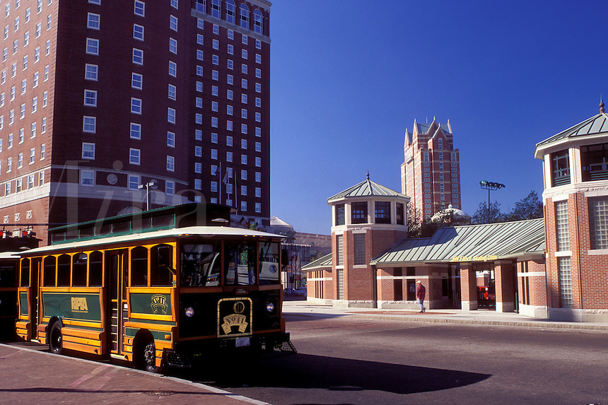 trolley, Providence, Rhode Island, RI, Trolley depot in downtown Providence.