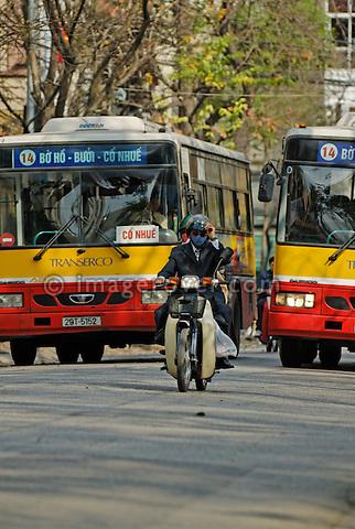 Asia, Vietnam, Hanoi. Hanoi old quarter. Hanoibus, public transport by bus.