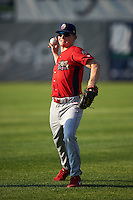 Williamsport Crosscutters Luke Maglich (5) warms up before a game against the Auburn Doubledays on June 25, 2016 at Falcon Park in Auburn, New York.  Auburn defeated Williamsport 5-4.  (Mike Janes/Four Seam Images)