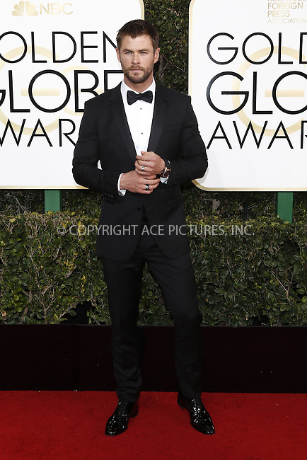 www.acepixs.com<br /> <br /> January 8 2017, LA<br /> <br /> Chris Hemsworth arriving at the 74th Annual Golden Globe Awards at the Beverly Hilton Hotel on January 8, 2017 in Beverly Hills, California.<br /> <br /> By Line: Famous/ACE Pictures<br /> <br /> <br /> ACE Pictures Inc<br /> Tel: 6467670430<br /> Email: info@acepixs.com<br /> www.acepixs.com