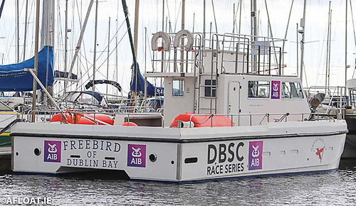 DBSC's Committee Boat 'Freebird' with new club sponsor decals displayed Photo: Afloat