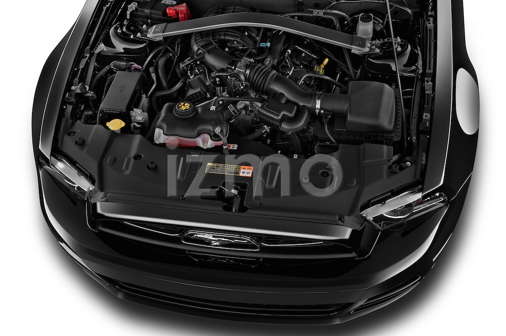 High angle engine detail of a  .2013 Ford Mustang V6 Premium CV