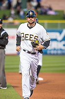 Travis Adair (4) of the Salt Lake Bees during the game against the Sacramento River Cats in Pacific Coast League action at Smith's Ballpark on April 17, 2015 in Salt Lake City, Utah.  (Stephen Smith/Four Seam Images)