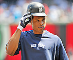 16 June 2012: New York Yankees second baseman Robinson Cano awaits his turn in the batting cage prior to a game against the Washington Nationals at Nationals Park in Washington, DC. The Yankees defeated the Nationals in 14 innings by a score of 5-3, taking the second game of their 3-game series. Mandatory Credit: Ed Wolfstein Photo