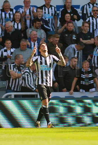 26th August 2017, St James Park, Newcastle, England; EPL Premier League football, Newcastle United versus West Ham United; Joselu of Newcastle United celebrates making it 1-0