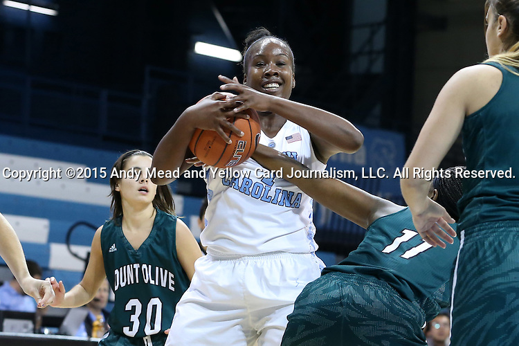 09 November 2015: North Carolina's Rachel McGirt (1) grabs a rebound away from Mount Olive's Whitney Walker (11). The University of North Carolina Tar Heels hosted the University of Mount Olive Trojans at Carmichael Arena in Chapel Hill, North Carolina in a 2015-16 NCAA Women's Basketball exhibition game. UNC won the game 99-45.