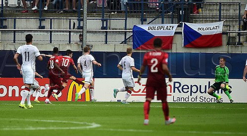 27.06.2015. Andruv Stadium, Olomouc, Czech Republic. U21 European championships, semi-final. Portugal versus Germany.  Bernardo Silva (Portugal) scores past Marc-Andre ter Stegen (Germany) for 1:0