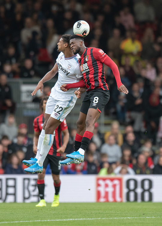 West Ham United's Sebastien Haller (left) battles with Bournemouth's Jefferson Lerma (right) <br /> <br /> Photographer David Horton/CameraSport<br /> <br /> The Premier League - Bournemouth v West Ham United - Saturday 28th September 2019 - Vitality Stadium - Bournemouth<br /> <br /> World Copyright © 2019 CameraSport. All rights reserved. 43 Linden Ave. Countesthorpe. Leicester. England. LE8 5PG - Tel: +44 (0) 116 277 4147 - admin@camerasport.com - www.camerasport.com