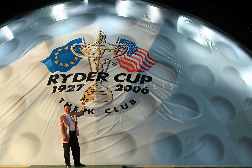 Ian Woosnam, European Team Captain holds the Ryder Cup trophy aloft after the closing ceremony for the 36th Ryder Cup Matches played over The Palmer Course at The K Club, Straffan, Co. Kildare, on 24th September 2006          ( Photo by Phil Inglis )...