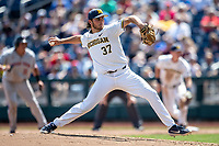 Michigan Wolverines pitcher Karl Kauffmann (37) delivers a pitch to the plate against the Texas Tech Red Raiders in the NCAA College World Series on June 21, 2019 at TD Ameritrade Park in Omaha, Nebraska. Michigan defeated Texas Tech 15-3 and will play in the CWS Finals. (Andrew Woolley/Four Seam Images)