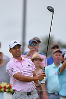 Xander Schauffele (USA) watches his tee shot on 1 during round 4 of The Players Championship, TPC Sawgrass, at Ponte Vedra, Florida, USA. 5/13/2018.<br /> Picture: Golffile | Ken Murray<br /> <br /> <br /> All photo usage must carry mandatory copyright credit (&copy; Golffile | Ken Murray)