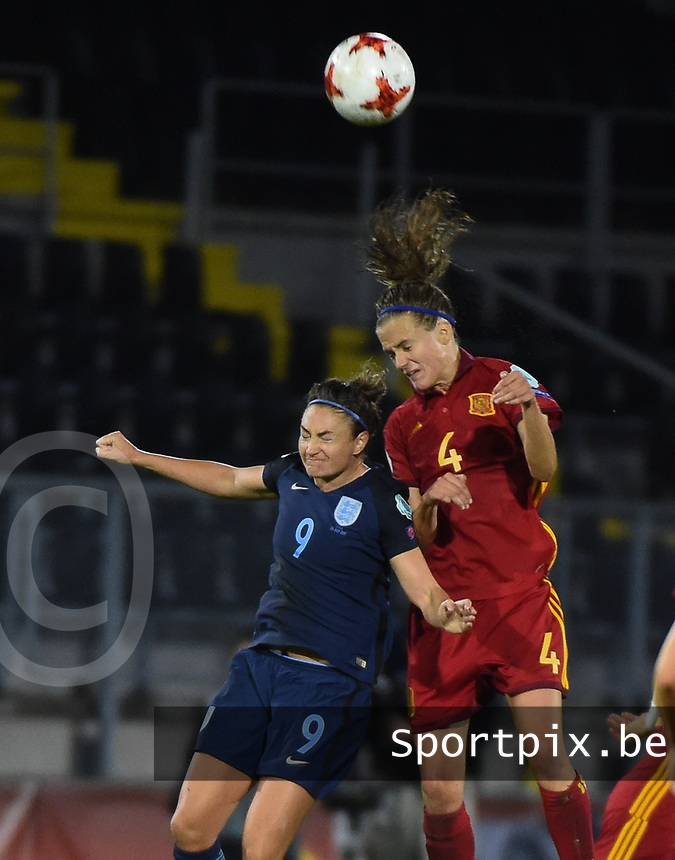 20170723 - BREDA , NETHERLANDS : English Jodie Taylor (L) and Irene Paredes (R) pictured during the female soccer game between England and Spain  , the second game in group D at the Women's Euro 2017 , European Championship in The Netherlands 2017 , Sunday 23 th June 2017 at Stadion Rat Verlegh in Breda , The Netherlands PHOTO SPORTPIX.BE | DIRK VUYLSTEKE