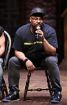 "James Monroe Iglehart during the Q & A before The Rockefeller Foundation and The Gilder Lehrman Institute of American History sponsored High School student #eduHAM matinee performance of ""Hamilton"" at the Richard Rodgers Theatre on June 5, 2019 in New York City."