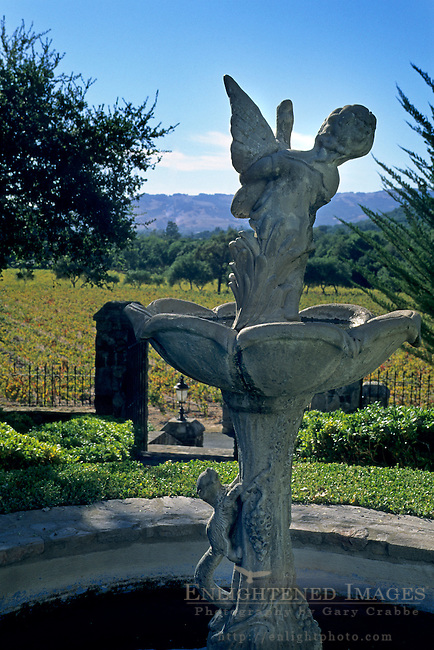 Fountain statue at Pompeiian Villa at Bartholomew Park Winery, Sonoma County, California