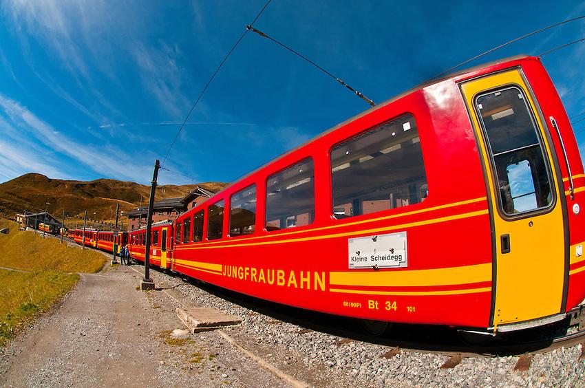 Jungfrau Railway train at Kleine Scheidegg in the Swiss Alps, Canton Bern, Switzerland