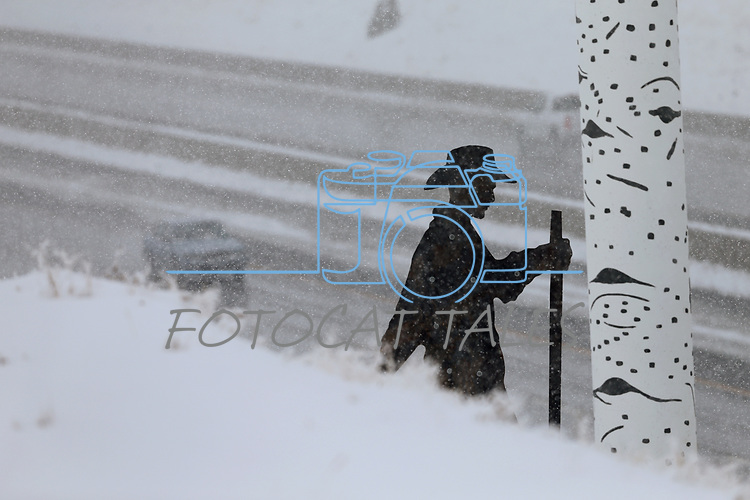 Highway art is seen in Carson City, Nev., on Friday, March 16, 2018 as a snowstorm moves through the region. <br /> Photo by Cathleen Allison/Nevada Momentum