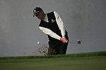 Soren Hansen chips out of the bunker on the 18th during the final round singles of the Seve Trophy at The Heritage Golf Resort, Killenard,Co.Laois, Ireland 30th September 2007 (Photo by Eoin Clarke/GOLFFILE)
