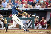 Michigan Wolverines outfielder Christian Bullock (5) swings the bat during Game 6 of the NCAA College World Series against the Florida State Seminoles on June 17, 2019 at TD Ameritrade Park in Omaha, Nebraska. Michigan defeated Florida State 2-0. (Andrew Woolley/Four Seam Images)