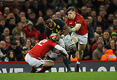 2nd December 2017, Principality Stadium, Cardiff, Wales; Autumn International Rugby Series, Wales versus South Africa; Siya Kolisi of South Africa is tackled by Rhys Patchell of Wales