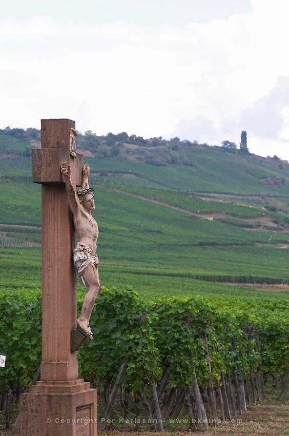 vineyard crucifix kientzheim alsace france