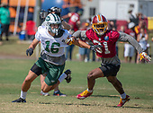 New York Jets wide receiver Chad Hansen (16), looks for a pass as he participates in a joint training camp practice with the Washington Redskins at the Washington Redskins Bon Secours Training Facility in Richmond, Virginia on Tuesday, August 14, 2018.  Defending on the play is Washington Redskins cornerback Fabian Moreau (31).<br /> Credit: Ron Sachs / CNP<br /> (RESTRICTION: NO New York or New Jersey Newspapers or newspapers within a 75 mile radius of New York City)