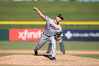 Salt River Rafters relief pitcher Adam Bray (16), of the Minnesota Twins organization, delivers a pitch during an Arizona Fall League game against the Mesa Solar Sox at Sloan Park on November 9, 2018 in Mesa, Arizona. Mesa defeated Salt River 5-4. (Zachary Lucy/Four Seam Images)