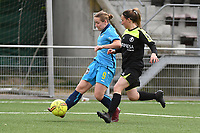 20190427 - Waregem , BELGIUM :  Celine Vanheste (R) and Brookelynn Cooreman (L) pictured during the final of the Beker van West-Vlaanderen 2019 , a soccer women game between SV Bredene and Famkes Westhoek Diksmuide Merkem B  , in the  Mirakelstadion in Waregem , Satuday 27 th April 2019 . PHOTO SPORTPIX.BE | DIRK VUYLSTEKE