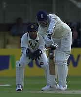 30/05/2002.Sport -Cricket - 2nd NPower Test -First Day.England vs Sri Lanka.Michael Vaughan batting Kumar Sangakkara keeping wicket for Sri Lanka. [Mandatory Credit Peter Spurrier:Intersport Images]