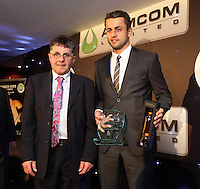 Pictured: Lukasz Fabianski receiving the players' player of the season award Wednesday 20 May 2015<br /> Re: Swansea City FC Awards Dinner at the Liberty Stadium, south Wales, UK
