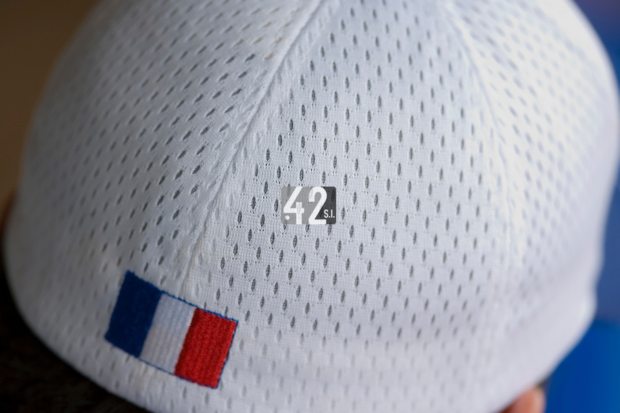 18 August 2007: Close up view of baseball hat during the China 5-1 victory over France in the Good Luck Beijing International baseball tournament (olympic test event) at the Wukesong Baseball Field in Beijing, China.