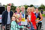 Runners celebrating with their families at the finish of  the Run Killarney Marathon on Saturday l-r: Alan O'Sullivan, Chiarda O'Connor, Aisling O'Connor, Edel daly, Breda and Jessica O'Connor, Anne Cronin