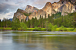 Bridalveil Falls, the Three Brothers, and the Merced River, Yosemite National Park, California, USA