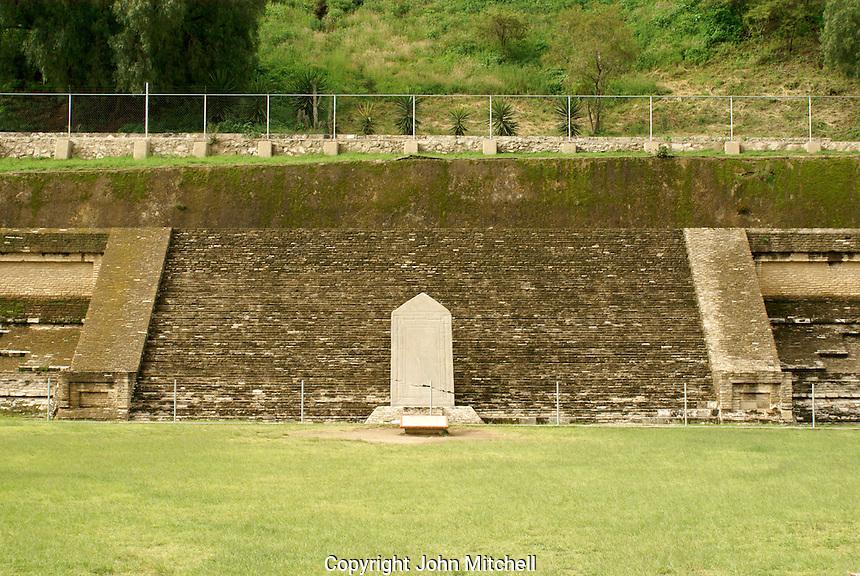 Pre-Hispanic ruins at southern base of Tapaneca Pyramid  in Cholula, Puebla, Mexico. Cholula is a UNESCO World Heritage Site.