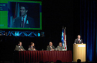 March 20 2003, Montreal, Quebec, Canada<br /> <br />  Andre Boisclair , Quebec Environment Minister speak at the Opening Plenary Session of  Americana ;  a 3 days conference &amp; trade show on envirnment and waste management organized by Reseau Environnement, March 19, 2003 in Montreal, Canada.<br /> <br /> Mandatory Credit: Photo by Pierre Roussel- Images Distribution. (&copy;) Copyright 2003 by Pierre Roussel <br /> <br /> NOTE : <br />  Nikon D-1 jpeg opened with Qimage icc profile, saved in Adobe 1998 RGB<br /> .Uncompressed  Original  size  file availble on request.