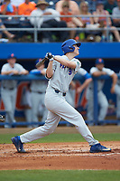 Christian Hicks (9) of the Florida Gators follows through on his swing against the Wake Forest Demon Deacons in the completion of Game Two of the Gainesville Super Regional of the 2017 College World Series at Alfred McKethan Stadium at Perry Field on June 12, 2017 in Gainesville, Florida. The Demon Deacons walked off the Gators 8-6 in 11 innings. (Brian Westerholt/Four Seam Images)