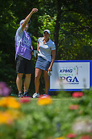 Cheyenne Woods (USA) looks over her tee shot on 13 during round 2 of the 2018 KPMG Women's PGA Championship, Kemper Lakes Golf Club, at Kildeer, Illinois, USA. 6/29/2018.<br /> Picture: Golffile | Ken Murray<br /> <br /> All photo usage must carry mandatory copyright credit (&copy; Golffile | Ken Murray)