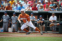 Mark Payton #2 of the Texas Longhorns bats during Game 1 of the 2014 Men's College World Series between the UC Irvine Anteaters and Texas Longhorns at TD Ameritrade Park on June 14, 2014 in Omaha, Nebraska. (Brace Hemmelgarn/Four Seam Images)