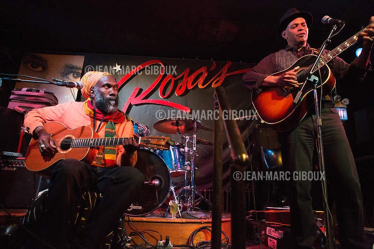 CHICAGO, APRIL 20, 2013 : Corey Harris, Guy Davis, Billy Branch and Sugar Blue play an evening of blues at Rosa's Lounge, during CimmFest 2013 in Chicago (Photo by Jean-Marc Giboux for Cimmfest).