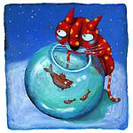 Illustrative image of cat hunting fish representing hunger