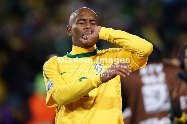 JOHANNESBURG - JUNE 15:  Maicon of Brazil celebrates after scoring a goal against North Korea during a 2010 FIFA World Cup soccer match June 15, 2010 in Johannesburg, South Africa.  NO mobile use.  Editorial ONLY.  (Photograph by Jonathan P. Larsen)