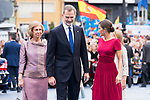 Queen Sofia (l), King Felipe VI and Queen Letizia arrive to Teatro Campoamor for Princess of Asturias Awards 2019 in Oviedo. October 18, 2019 (Alterphotos/ Francis Gonzalez)