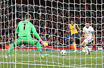 Arsenal's Theo Walcott scoring his sides second goal during the Champions League group A match at the Emirates Stadium, London. Picture date September 28th, 2016 Pic David Klein/Sportimage