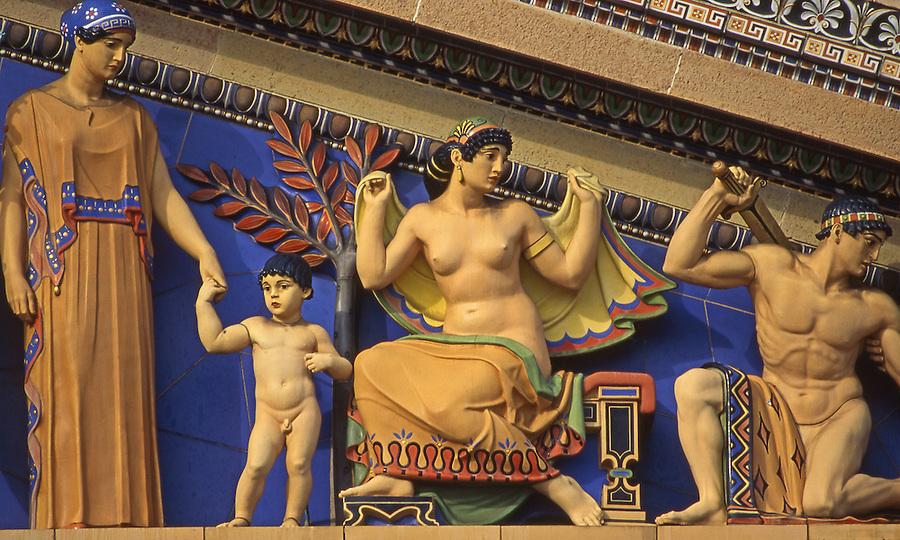"Museum of Art, ""Western Civilization,"" artist C. Paul Jennewein, Polychrome Sculptures, Painted terra-cotta figures, Greek Deities  Mythological Figures, Philadelphia, PA USA"