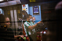 LISBON, PORTUGAL - March 11:  Passengers wearing  protective masks are seen reflected on the subway window on March 11, 2020 in Lisbon, Portugal. <br /> The International Air Transport Association (IATA) warned earlier on Thursday that the virus could rob passenger airlines of up to $113 billion in revenue this year as fears of a pandemic that could plunge the global economy into recession grow.<br /> Airlines across the globe are rushing to cut flights and costs, and warning of a hit to earnings.<br /> Portugal, whose economy depends heavily on tourism, has so far reported 59 positive cases of the Coronavirus, far fewer than the more than 2200 cases in neighboring Spain.<br /> <br /> (Photo by Luis Boza/VIEWpress vía Getty Images)