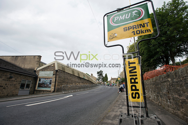 Picture by Allan McKenzie/SWpix.com - 06/07/2014 - Cycling - Tour de France 2014 - Stage 2, York to Sheffield - Yorkshire, England - 100 Metres sign before sprint section in Addingham.