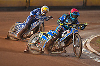 Jack Holder of Poole Pirates leads Rob Lambert of King's Lynn Stars in Heat 1 during Poole Pirates vs King's Lynn Stars, SGB Premiership Shield Speedway at The Stadium on 11th April 2019
