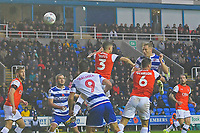 Michael Morrison of Reading right heads the first goalr during Reading vs Luton Town, Sky Bet EFL Championship Football at the Madejski Stadium on 9th November 2019