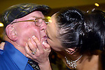Sucking up... Deputy Jackie healy-Rae receives a pucker from supporter Norma O'Donoghue after his election in South kerry in the early hours of  Saturday morning inThe malton Hotel, Killarney.<br />Picture by Eamonn keogh / MacMonagle, Killarney